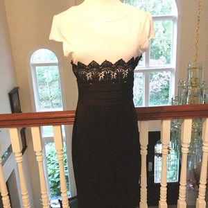 Black and white dress with lace detailing